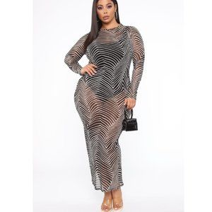 NWT Fashion Nova - See Me Mesh Maxi Dress